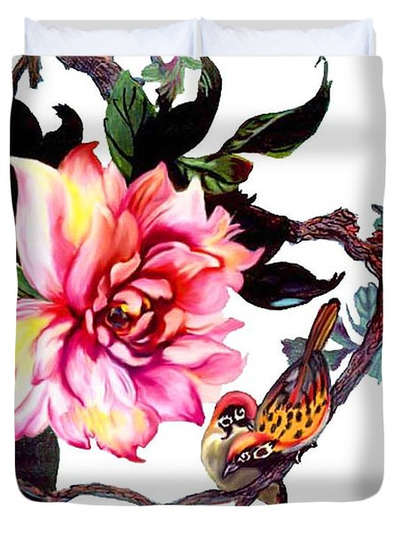Peony And Birds Duvet Cover