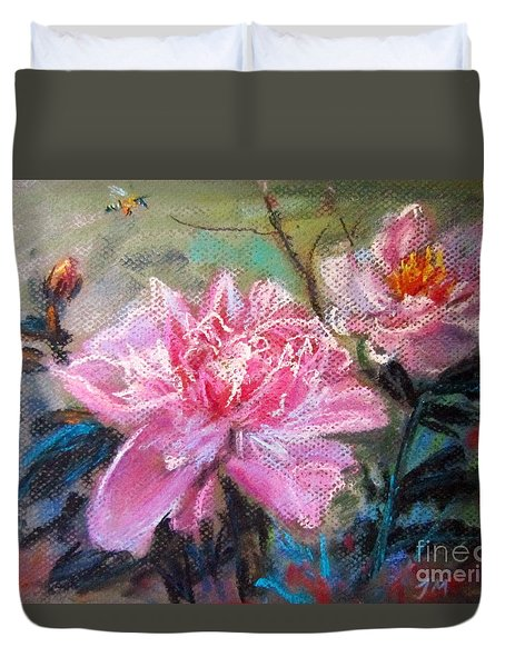 Duvet Cover featuring the painting Peony by Jieming Wang