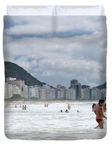 People Enjoying On Copacabana Beach Duvet Cover