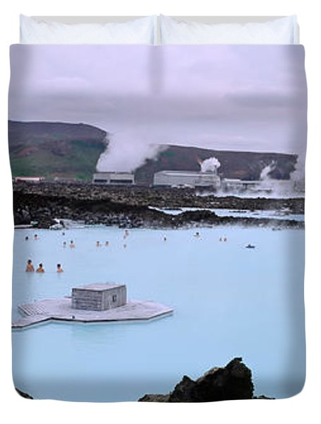 People In The Hot Spring, Blue Lagoon Duvet Cover