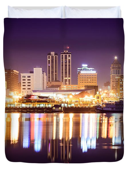 Peoria Illinois At Night Downtown Skyline Duvet Cover by Paul Velgos