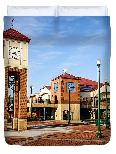 Peoria Illinois Riverfront Businesses And Clock Tower Duvet Cover by Paul Velgos