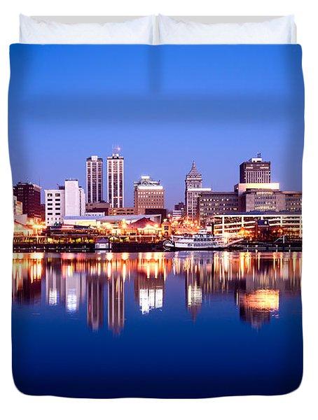 Peoria Illinois Skyline At Night Duvet Cover by Paul Velgos