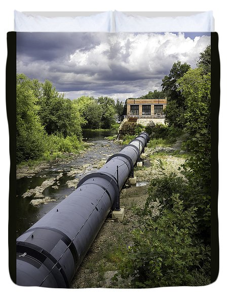 Duvet Cover featuring the photograph Pepperell Hydro Station - Penstock by Betty Denise