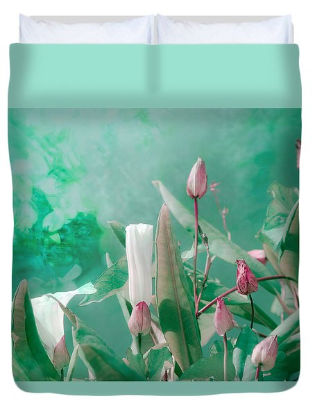Duvet Cover featuring the photograph Peppermint Morning Glory by Adria Trail