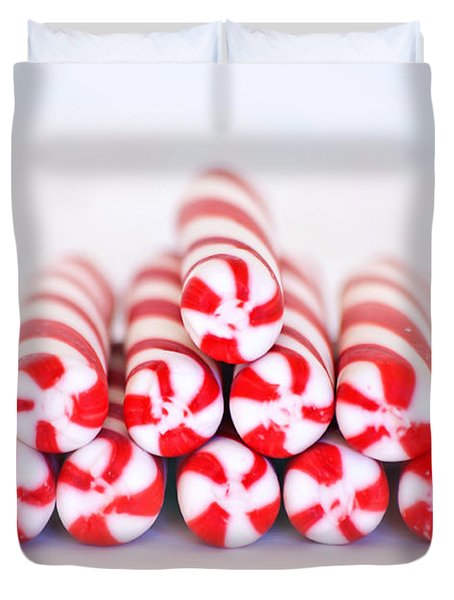 Peppermint Twist - Candy Canes Duvet Cover by Kim Hojnacki