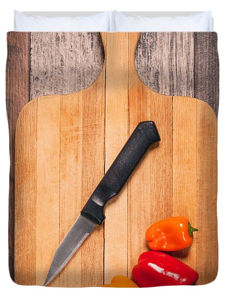 Peppers And Knife On Cutting Board Duvet Cover by Sharon Dominick