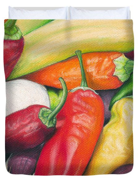 Peppers And Onions Duvet Cover