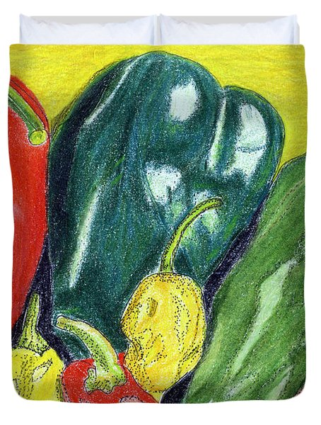 Duvet Cover featuring the painting Peppers by Linda Feinberg