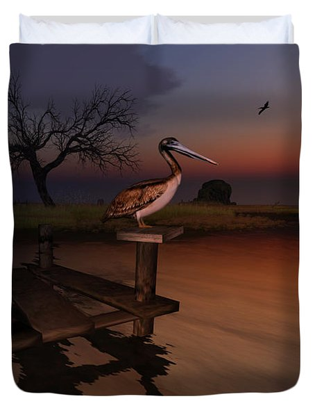 Duvet Cover featuring the digital art Perch With A View by Kylie Sabra