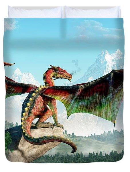 Perched Dragon Duvet Cover