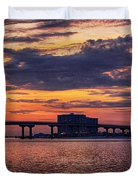 Duvet Cover featuring the digital art Perdido Bridge Sunrise by Michael Thomas