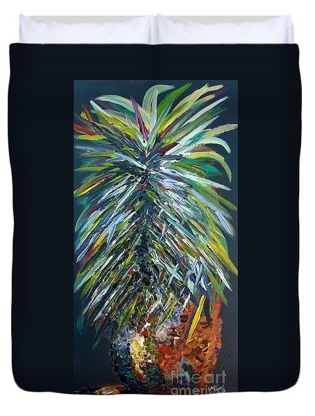 Duvet Cover featuring the painting Perfect Pineapple by Eloise Schneider