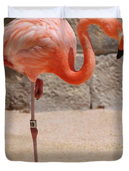 Perfect Pink Flamingo Duvet Cover by DejaVu Designs
