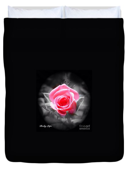 Duvet Cover featuring the photograph Perfect Rosebud In Black by Becky Lupe