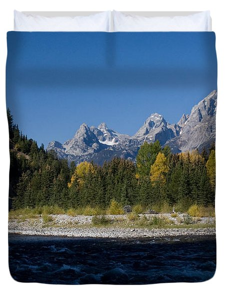 Perfect Spot For Fishing With Grand Teton Vista Duvet Cover