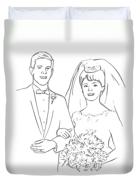 Duvet Cover featuring the drawing Perfect Wedding by Olimpia - Hinamatsuri Barbu