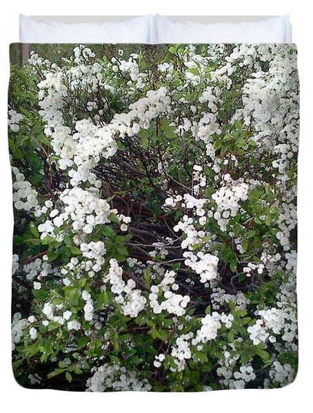 Perfect White Spring Blossoms Duvet Cover by PainterArtist FIN