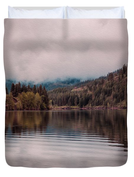 Perfectly Cloudy Lake Duvet Cover by Omaste Witkowski