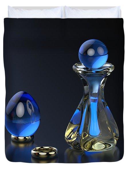 Perfume Bottle - Hint Of Blue Duvet Cover