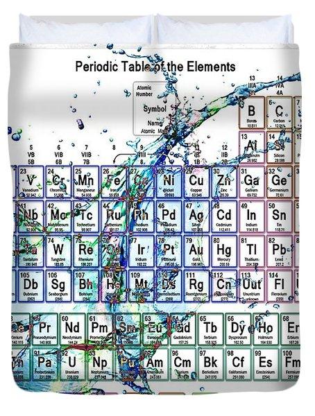 Periodic Table Colorful Liquid Splash Duvet Cover