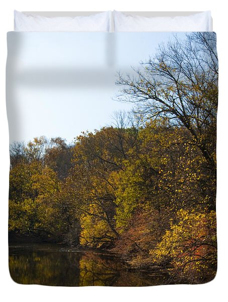 Perkiomen Creek In Autumn Duvet Cover by Bill Cannon