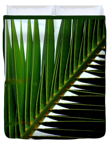 Duvet Cover featuring the photograph Perpendicular Green by Michael Hoard