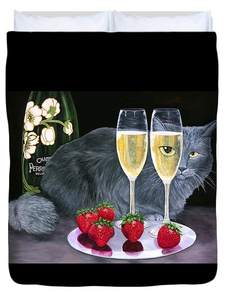 Duvet Cover featuring the painting Perrier Jouet Et Le Chat by Karen Zuk Rosenblatt