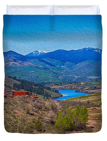 Perrygin Lake In The Methow Valley Landscape Art Duvet Cover