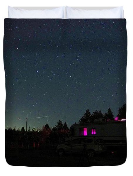 Perseid Meteor-julian Night Lights Duvet Cover