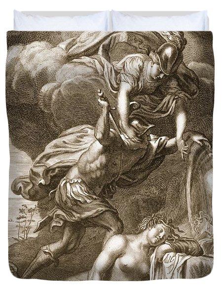 Perseus Cuts Off Medusas Head, 1731 Duvet Cover by Bernard Picart