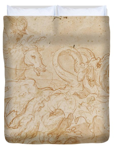 Perseus Rescuing Andromeda Red Chalk On Paper Duvet Cover by or Zuccaro, Federico Zuccari