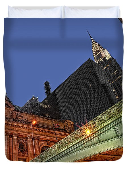 Duvet Cover featuring the photograph Pershing Square by Susan Candelario