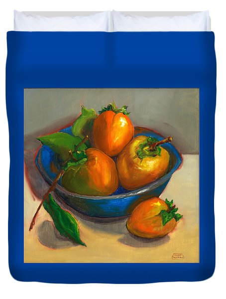 Persimmons In Blue Bowl Duvet Cover