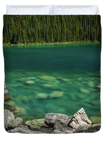 Person At Consolation Lake Duvet Cover
