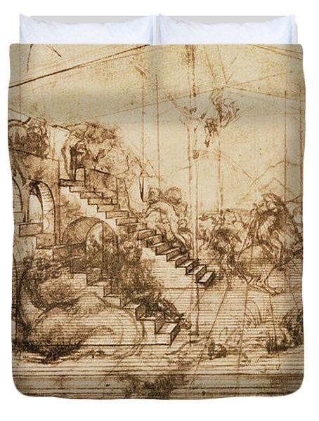 Perspective Study For The Background Of The Adoration Of The Magi Duvet Cover by Leonardo da Vinci