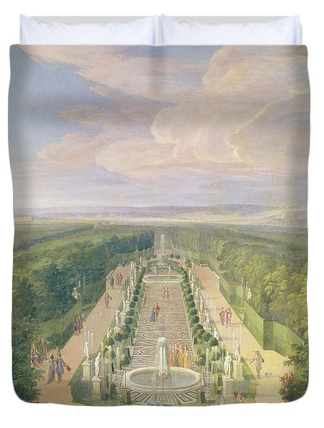 Perspective View Of The Grove From The Galerie Des Antiques At Versailles, 1688 Oil On Canvas Duvet Cover