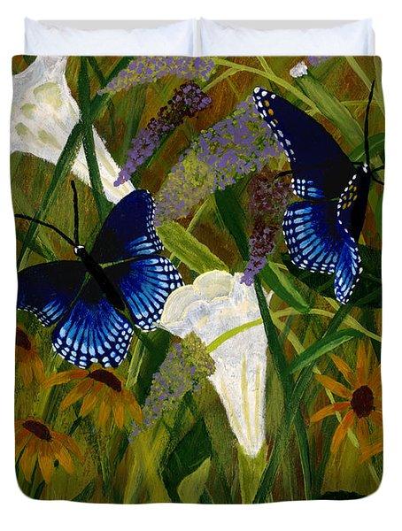 Perusing The Flowers Duvet Cover by Susan Schmitz