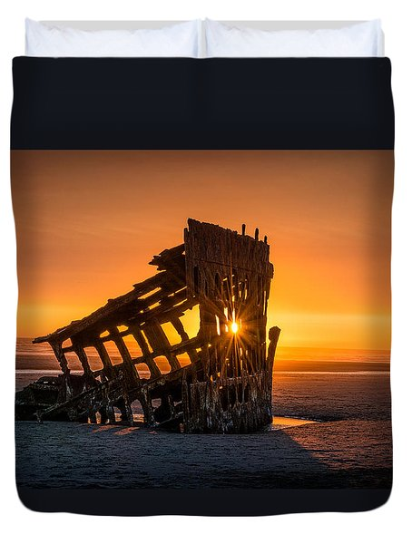 Peter Iredale Ship Duvet Cover by James Hammond