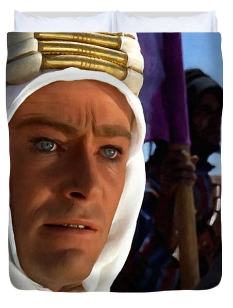Peter Otoole And Omar Sharif In Lawrence Of Arabia Duvet Cover