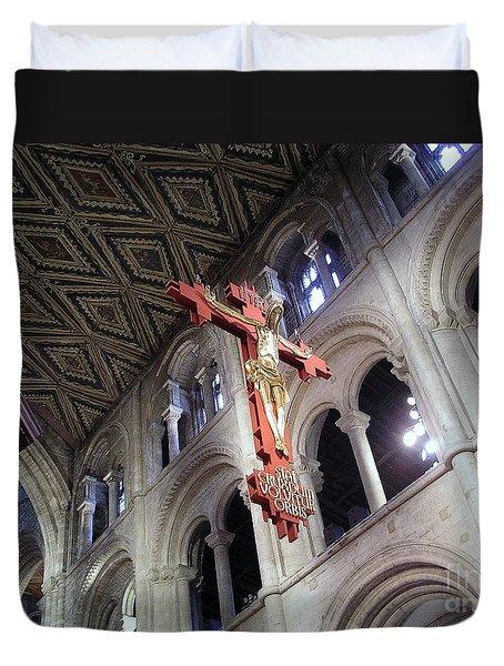 Duvet Cover featuring the photograph Peterborough Cathedral England by Jolanta Anna Karolska