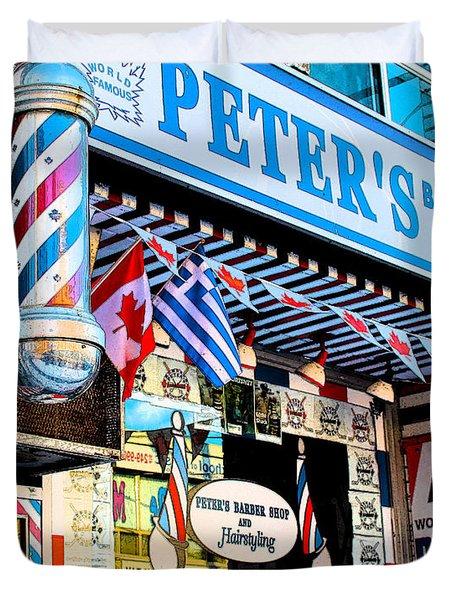 Peter's Barber Shop Circa 1961 Duvet Cover by Nina Silver