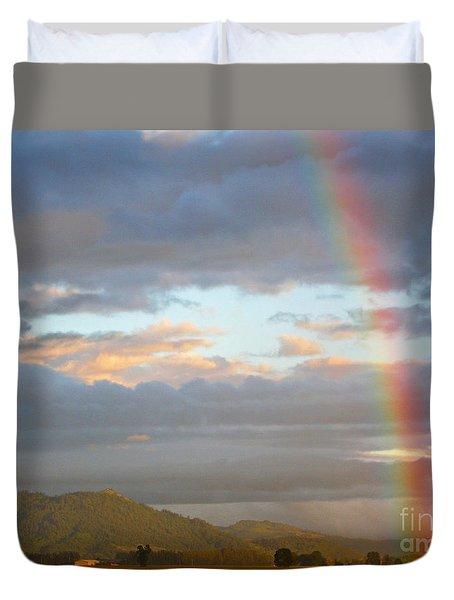 Peterson's Butte Rainbow Landscape Duvet Cover
