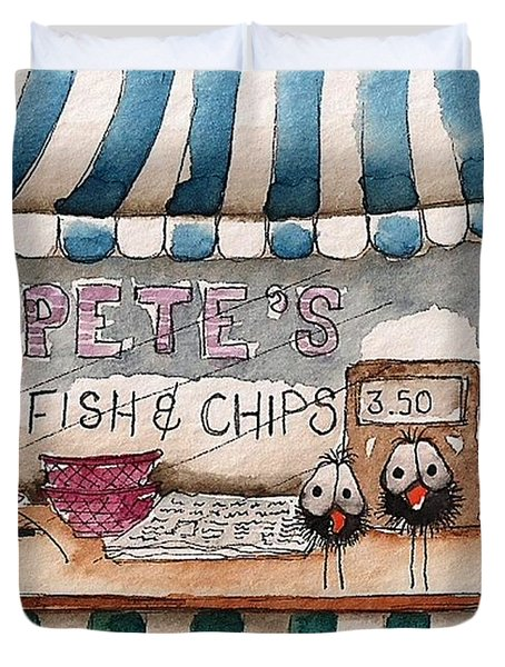 Pete's Fish And Chips Duvet Cover by Lucia Stewart