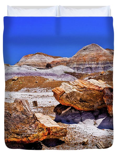 Duvet Cover featuring the photograph Petrified Forest - Painted Desert by Bob and Nadine Johnston
