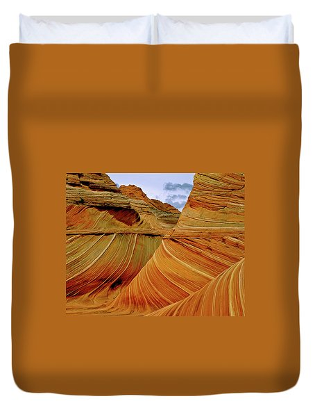 Petrified Sand Dunes The Wave Duvet Cover by Ed  Riche