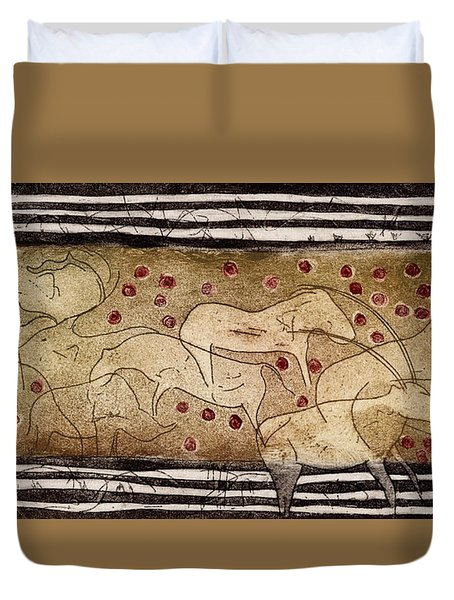 Petroglyph - Ensemble Of Red Dots And Short Strokes - Prehistoric Art - The Plains - Prarie Country Duvet Cover