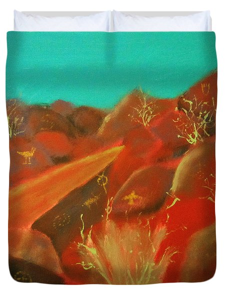 Duvet Cover featuring the painting Petroglyph Park by Keith Thue