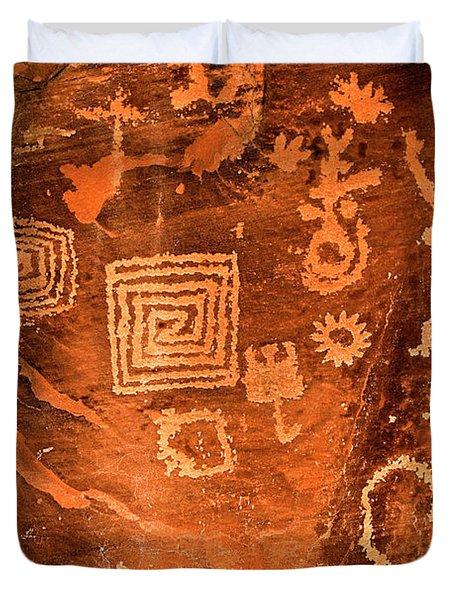 Petroglyph Symbols Duvet Cover