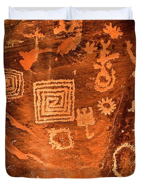 Petroglyph Symbols Duvet Cover by Phyllis Denton
